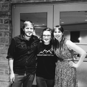 Holly Hutchinson with musicians Chris and Jenna Badeker.